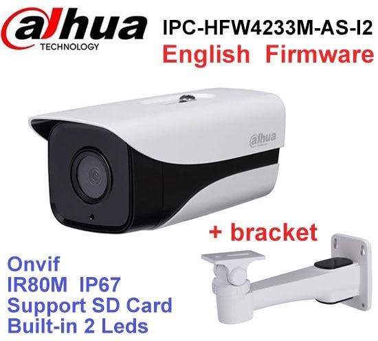 Dahua Original Stellar Camera IPC-HFW4233M-AS-I2 2MP H2.65 POE SD Card slot Audio1/1 Alarm 1/1 In/Out IP67 IR 80M network camera wholesale dahua dh ipc hdbw4233r as 2mp ir mini dome network ip camera ir poe audio sd card stellar h265 h264 ipc hdbw4233r as