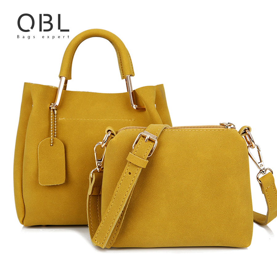 QiBoLu 2pcs Handbag Women Tote Bag Messenger Shoulder Crossbody Ladies Hand Bags Bolsas Feminina Bolsos Mujer Dames Tassen WB26 bromen crossbody bags for women leather handbags pvc printing satchels ladies shoulder messenger bag brand design dames tassen