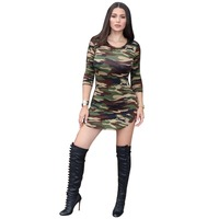 2017 Summer Autumn Women Package Hip Ladies Half Sleeve Army Camouflage Dresses Girl Sexy Club Spandex