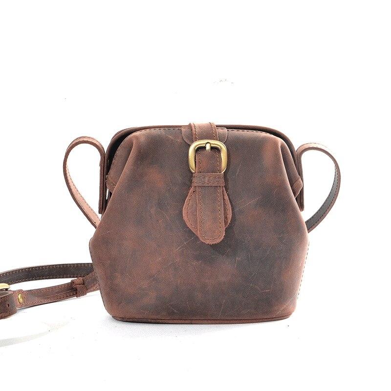Vintage Handmade Women's Messenger Bag First Layer Cowhide Female Bucket Bag Horse Leather One Shoulder Cross Body Bag