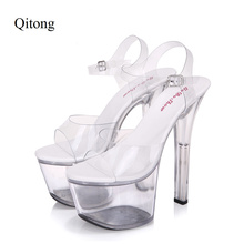 Euro Size 34-44 PU Woman 15 and 17cm High Heels Platform Sandals Nightclub Woman High Heeled Birthday Party Shoes for T Station