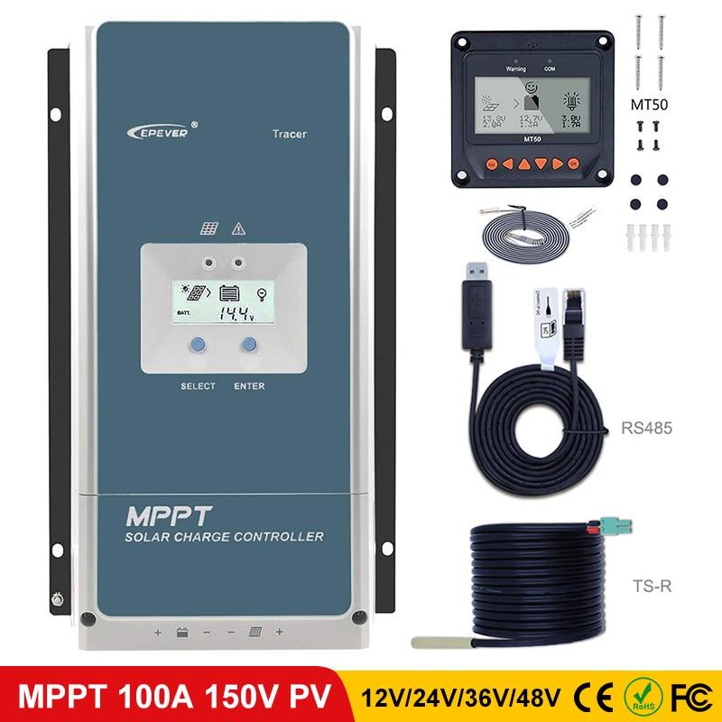 EPever MPPT 100A Solar Charge Controller 48V 36V 24V 12V Backlight LCD For Max 150V Solar