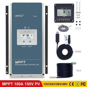 Контроллер солнечного заряда EPever MPPT 100A 48 в 36 В 24 в 12 В подсветка LCD для максимальной 150 в панели солнечных батарей входной Регулятор Tracer 10415AN