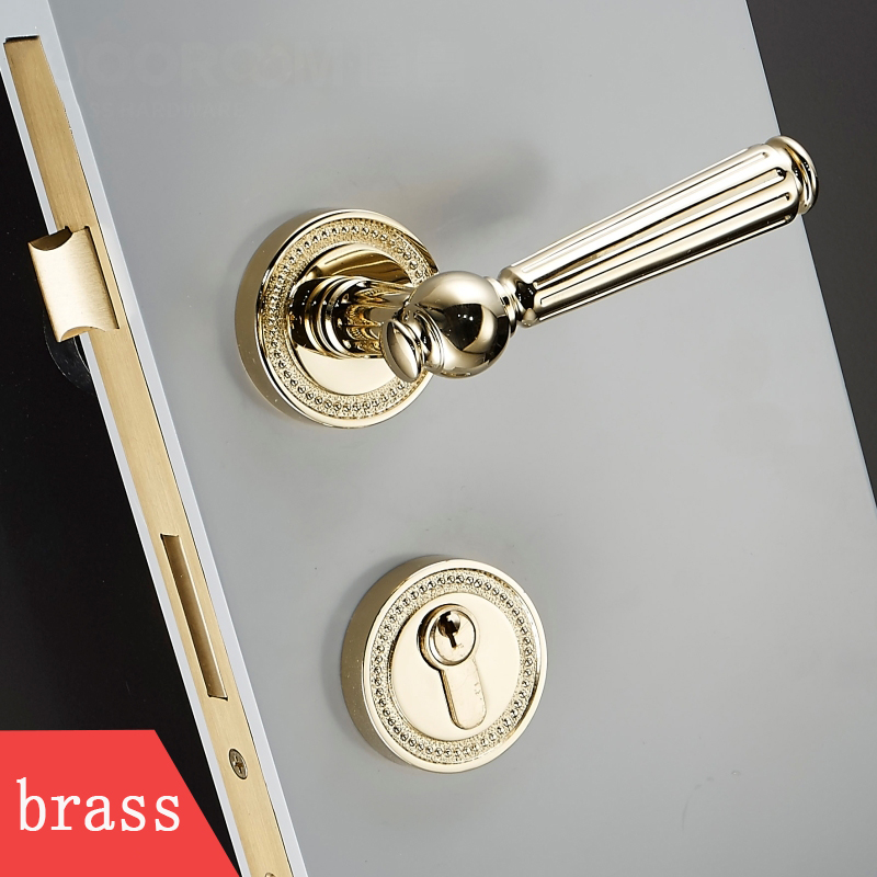 1set brass door handle Interior / Bedroom door lock Split Silent door lock For 35-50mm Doors 35 55mm door thickness door handle brass lock with 70mm key lock