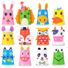12Pcs/Set Paper Cups DIY Children Crafts Toys Cartoon Animal Creative Stickers Painting Educational Toys For Kids Gift
