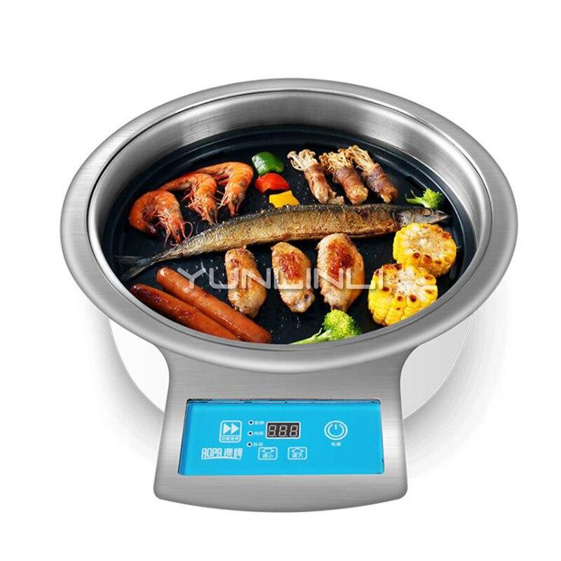 Gril électrique sans fumée papier Barbecue rond Commercial grillé poêle à viande coréen BBQ four DT31