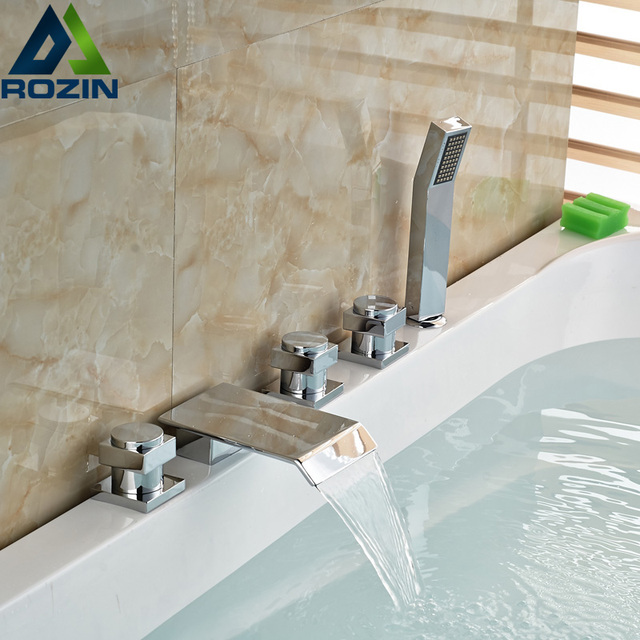 Deck Montieren 5 Löcher Verbreitet Wasserfall Badewanne Wasserhahn ...