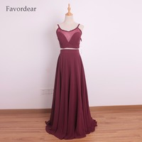 Favordear Burgundy Two Pieces Spaghetti Straps Evening Dresses Long Chiffon Spaghetti Straps Red Prom Gowns 2017