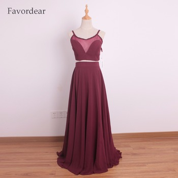 Favordear Burgundy Two Pieces Spaghetti Straps Evening Dresses Long Chiffon Spaghetti Straps Red Prom Gowns 2017 фото