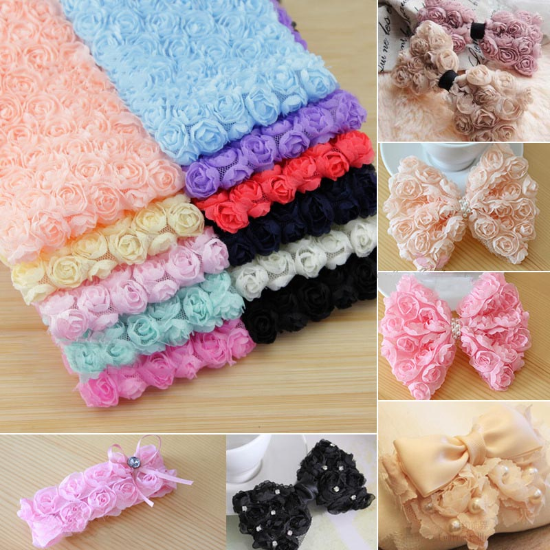 2/5yards 6 Row 3D Chiffon Rose Flower Lace Trim Chiffon Lace Fabric Ribbon Diy Handmade Hair Accessories Material Clothing Decor