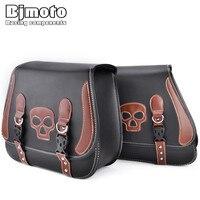 BJMOTO Paar Motorrad Seite Satteltaschen Schädel PU Leder Satteltaschen Werkzeug Gepäck Pannier Taschen Für Harley Kawasaki Suzuki Honda