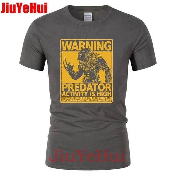 Summer Funny   T  -  Shirt   Men O-neck Cotton Short Sleeve Alien Warning Predator   T     Shirt   Halloween Gift Men's Tshirt