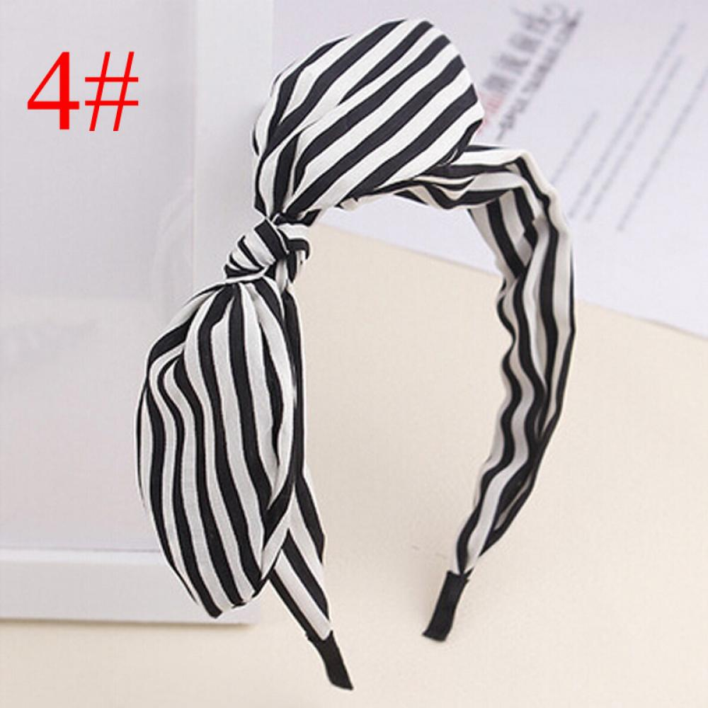 1Pc Cute Dots lip print flower Bunny Rabbit Ear Ribbon   Headwear   Hairband Metal Wire Scarf Headband Hair Band Accessories