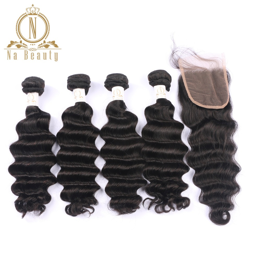 Brazilian Human Hair 4 Bundles With Closure Free Part Loose Deep Wave Remy Hair Bundles Deal For Black Woman Free Shipping