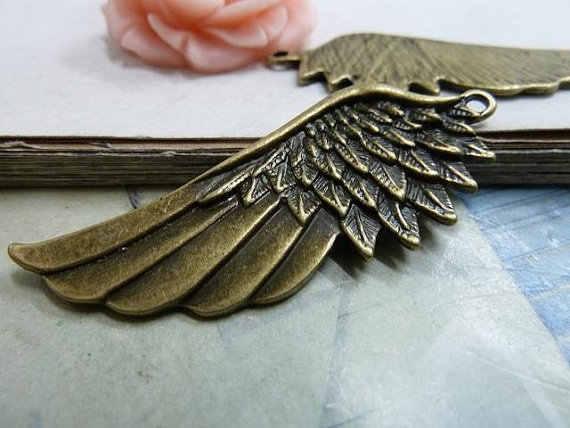 10 pcs 22 x 54 mm perunggu antik yang indah besar berat bulu sayap pesona liontin C32
