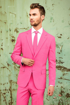 Fashionable Two Buttons Pink Groom Tuxedos Notch Lapel Groomsmen Men Blazers Suits (Jacket+Pants+Tie) NO:345