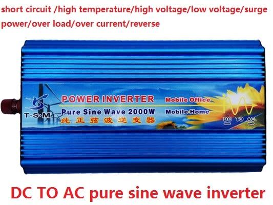 Digital Display Pure Sine Wave Solar Power Inverter 2000W Car Inverter Power Supply 12V/24V DC to 120V/220V/240V AC 1600w автомобильный инвертор 4 usb 12v 24v до 220v dual digital display of protection voltage modefied sine wave car inverter co