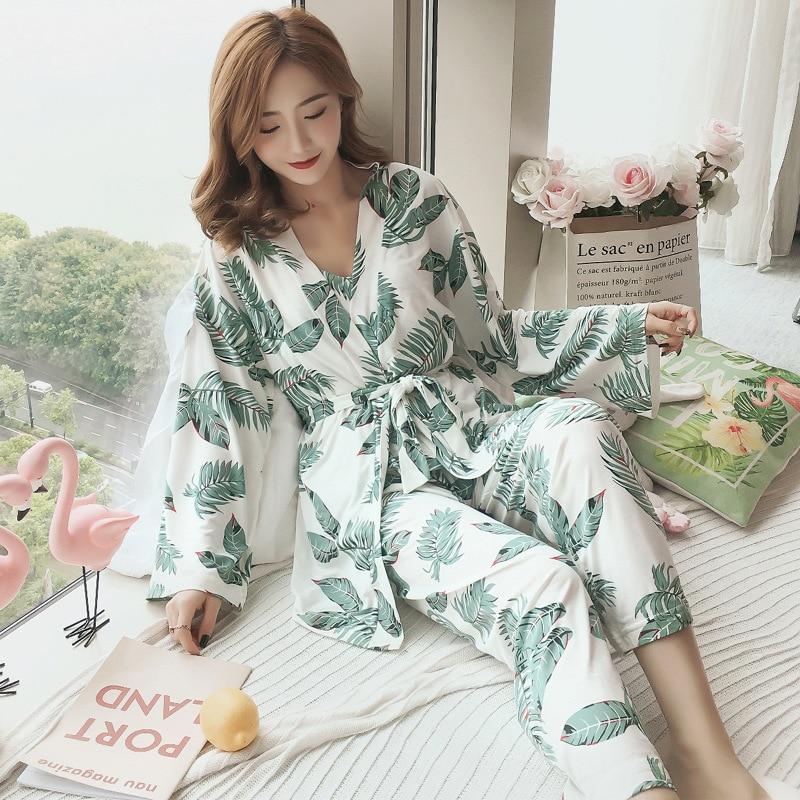 2019 New Spring 3 PCS Women   Pajamas     Sets   with Pants Sexy Thin Pyjama Flower Print Nightwear Sleepwear Pyjama Chest Pads