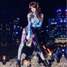 D.va Cosplay Costume Dva Suit Spandex Lycra Zentai Bodysuit Woman Grils One Piece Full Body Unitard Halloween Party Costumes