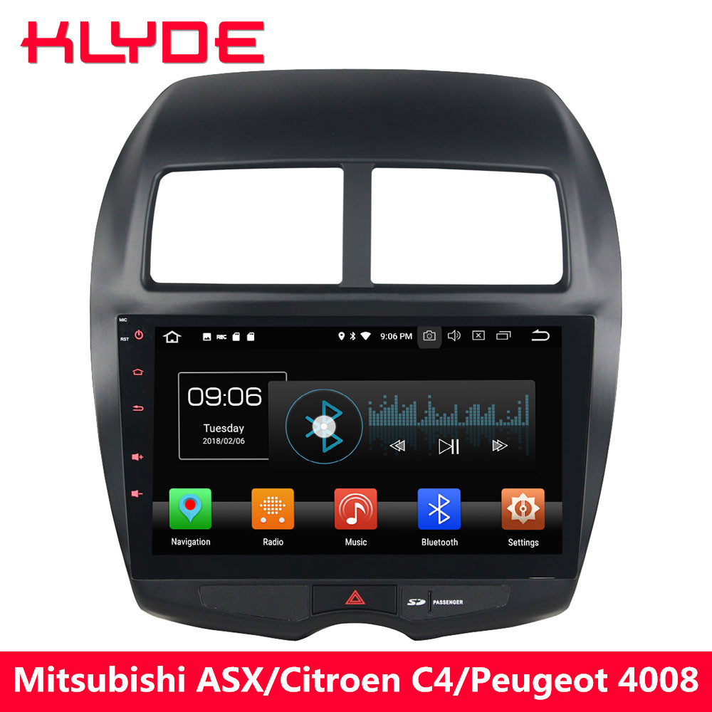 цена на KLYDE 10.1'' 4G Android 8.0 Octa Core 4GB RAM 32GB ROM Car DVD Multimedia Player For Peugeot 4008/Citroen C4 Aircross 2012-2017