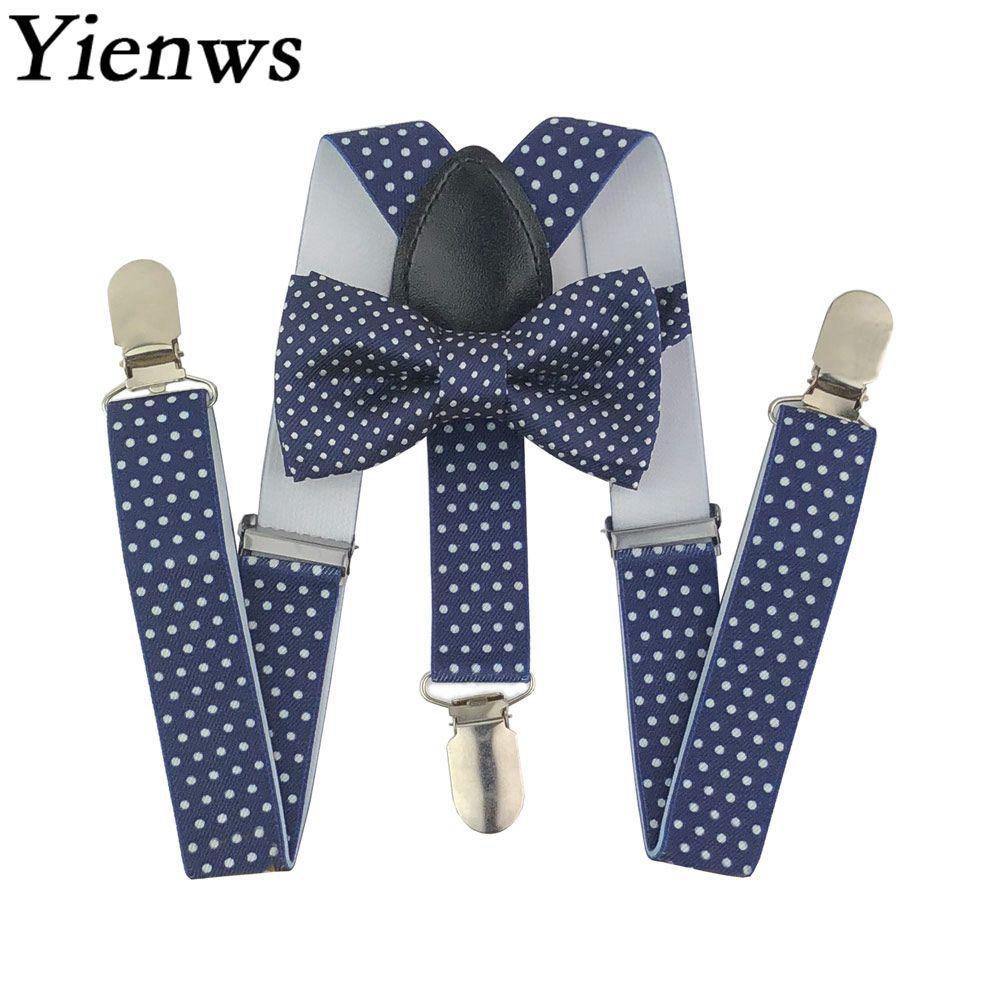 Yienws Kids Bow Tie and Suspenders Baby Navy Polka Dot Girls Boys Suspenders Bowtie Tirantes Bebe Bretels Kinderen YiA147
