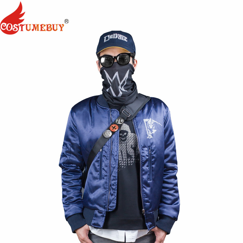 Costumebuy Watch Dogs 2 Costume Marcus Holloway Cosplay Costume Blue Jacket Adult Men Suit Game Costume Halloween Party Outfit