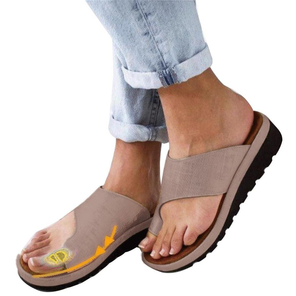 Women PU Leather Shoes Comfortable Flat Platform Sole Casual Soft Finger Foot Correction Orthopedic Sandals Bunion Concealer