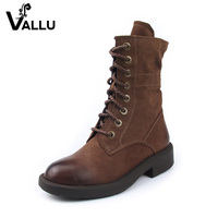 Sheepskin Leather Boots New Style Genuine Leather Women Shoes Block Heel Lace Up Vintage Khaki Ankle