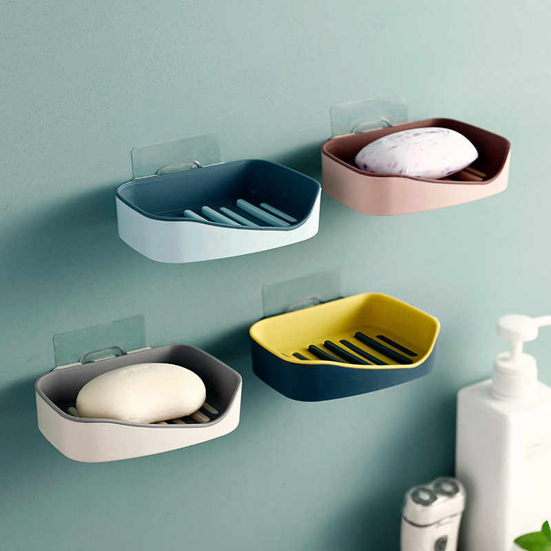 Wall Mounted Self Adhesive Soap Dishes Soap Sponge Dish No Drilling Storage Box Rack Shelf Double Drain Bathroom Soap Holder