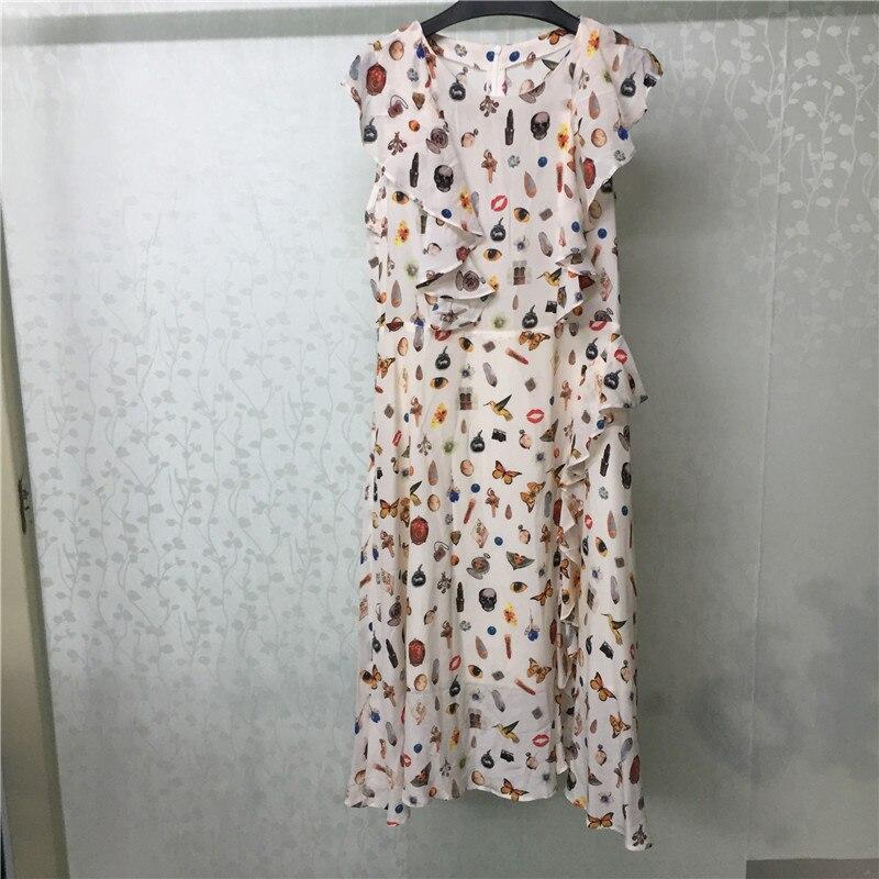 Robe longue imprimé femmes été o-cou élégant sans manches robe a-ligne 2018 mode femmes robe en soie