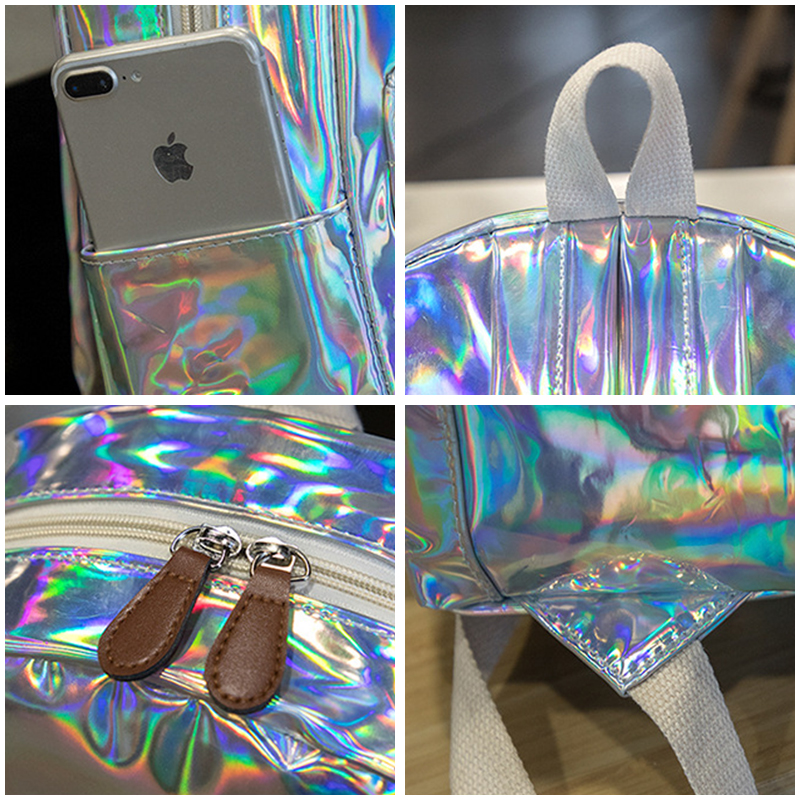 Aireebay Female Holographic Backpack Women Soft Laser Pu Leather Travel Backpacks Silver Hologram School Bags For Teenager Girls #6
