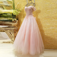 Real Photos Charming Pink Lace Applique A Line Prom Dresses Luxury Pearls Princess Formal Party Dress Elegant Long Evening Gowns