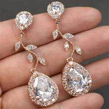 Fashion Rhinestone Leaf Water Drop Zircon Silver Earrings Women Wedding Jewelry Geometric Elegant Statement Romantic Earings