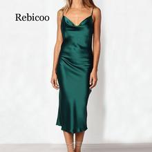 Women Sexy Sling Satin Dresses Sleeveless Off Shoulder Backless Mid-Calf Slim Dress Nightdress Party vestidos