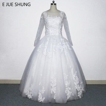E JUE SHUNG Vintage Lace Appliques Pearls Ball Gown Wedding Dresses 2018 Key hole Long Sleeves Wedding Gowns vestido de noiva