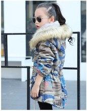 winter children's clothing girl thickened fur collar hooded girl denim shirt for kids coat 5-14Y