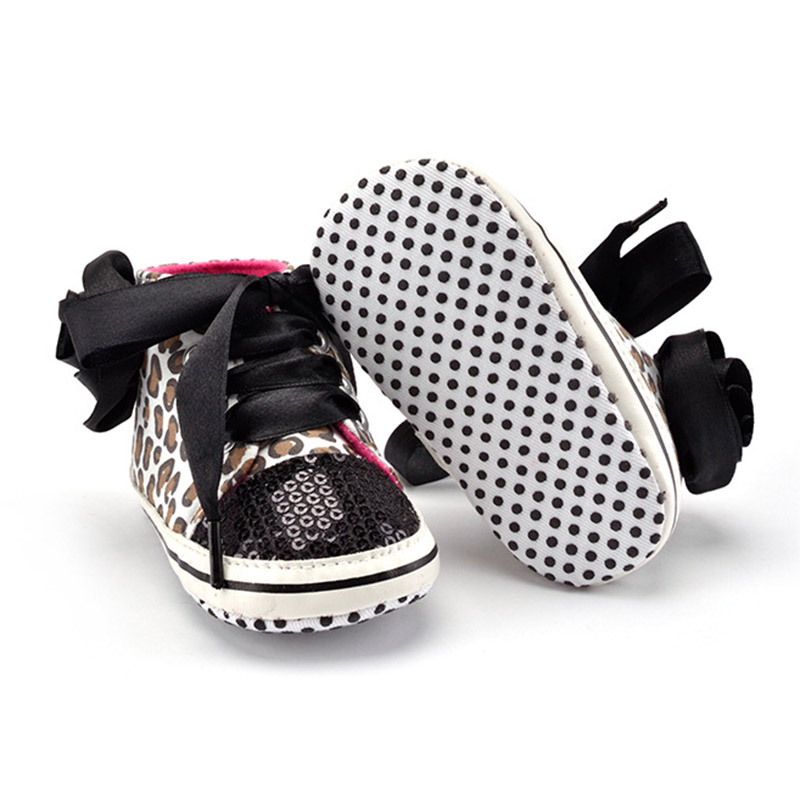 Hot Sell 0-12M Baby Prewalker Newborn Girl Leopard Printed Sequin Sneaker Toddler Kids Non-Slip Lace Up Walking Shoes @