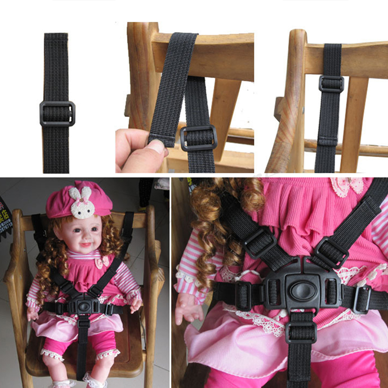 Chair Belt Strap Car Seat Safety Baby Seat Belt High Chair Nylon Black Feeding Safety Pushchair Universal Travel Accessories