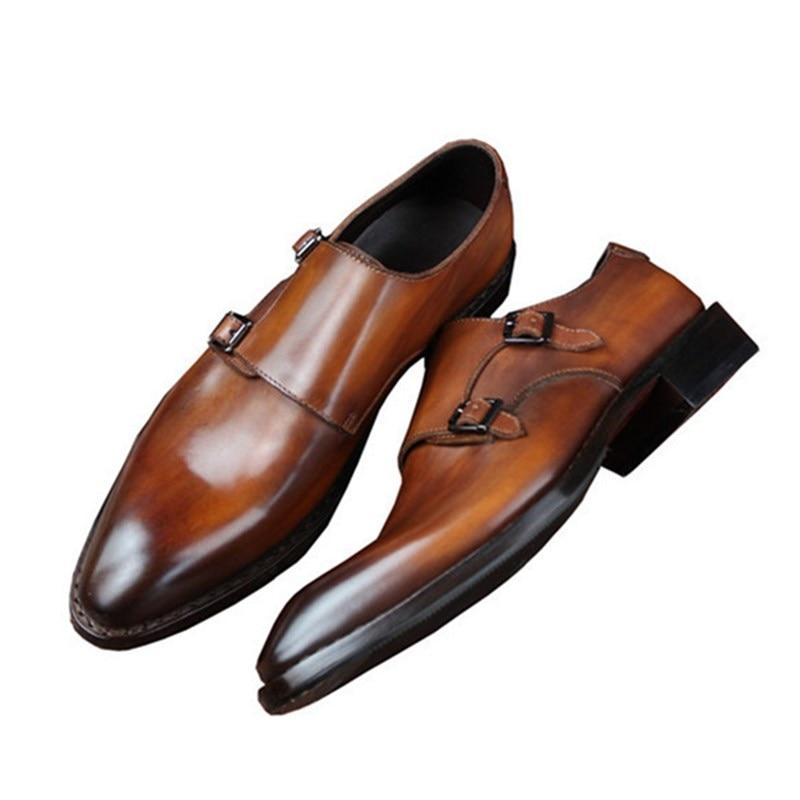 Goodyear Welted Klasik Kulit Asli Ganda Gesper Buatan Tangan pria - Sepatu Pria - Foto 3