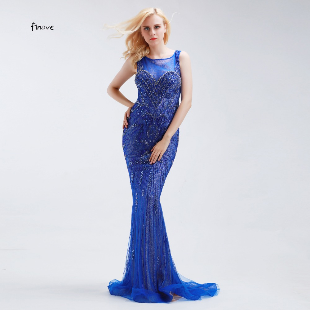 acccb43058 Finove Long Evening Gowns Illusion See Through Back Crystal Beaded Fashion  Womens Sexy Mermaid Evening Dresses