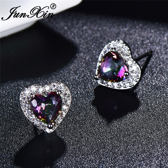 JUNXIN Mystic Fire Birthstone, Разноцветные серьги-гвоздики в форме сердца для женщин, серебро 925 пробы, заполненные фиолетовыми радужными цирконами, серьги