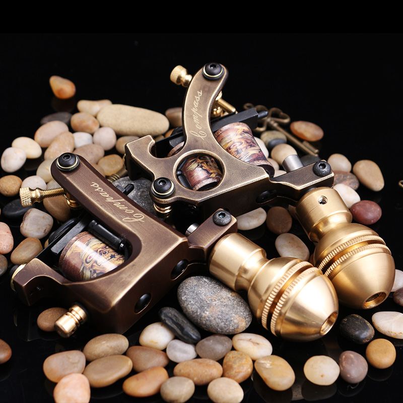 Machine de tatouage faite main professionnelle 10 bobines d'enveloppe pistolet de tatouage fait sur commande de cadre de cuivre pour des fournitures de tatouage de Shader ou de revêtement - 2