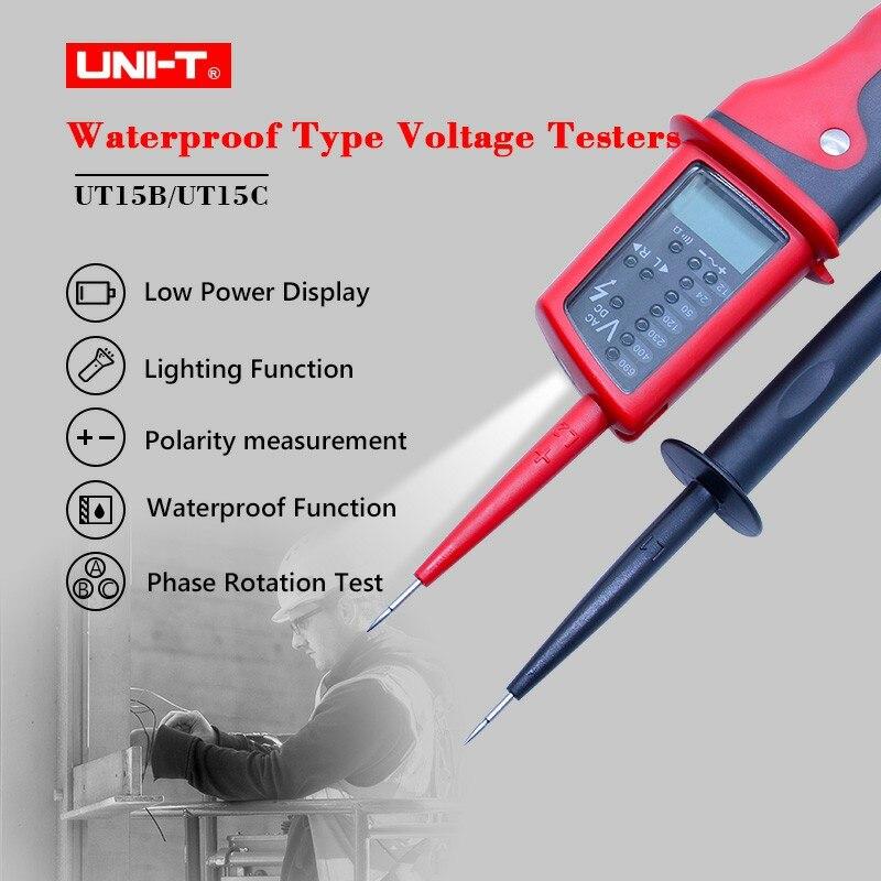 UNI-T UT15C Digital Voltage Meter Waterproof AC/DC Voltage Testers LCD Display 24V~690V Auto Range Phase Rotation Free Shipping цена
