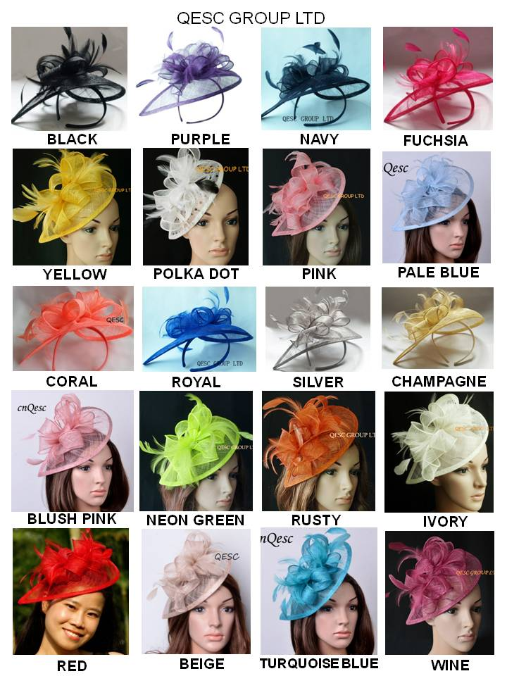 28 colors EMS FREE SHIPPING HOT sinamay fascinator in SPECIAL shape w feathers for Kentucky derby