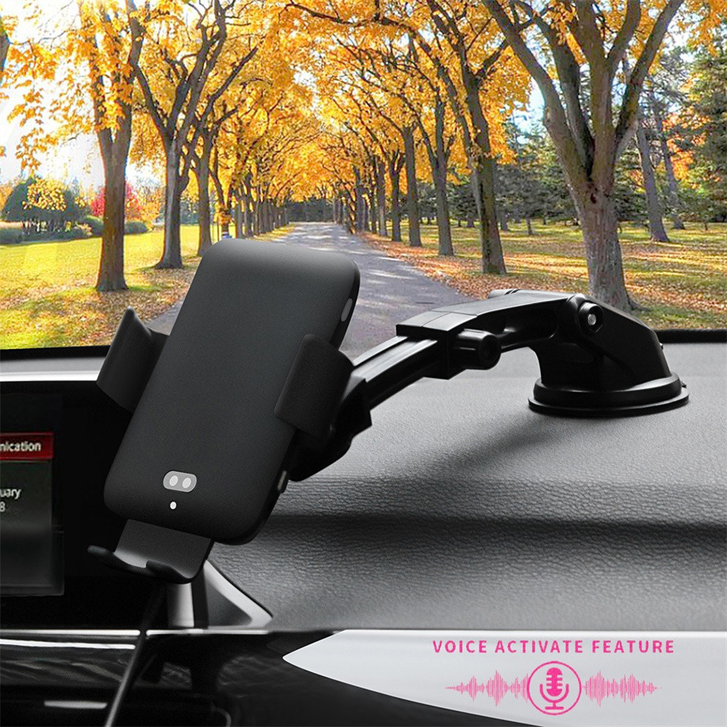 Wireless Car Charger Infrared Sensing Voice Control QI Fast Charging For iPhone X/Xs/XS Max/ XR/ 8 For Samsung S10 S9 S8 Note 9