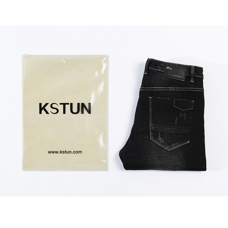 Image 5 - KSTUN Solid Black Jeans Men Autumn and Winter Distressed Stretch Streetwear Ripped Men Casual Pants Slim Hiphop Cowboys Trousers-in Jeans from Men's Clothing