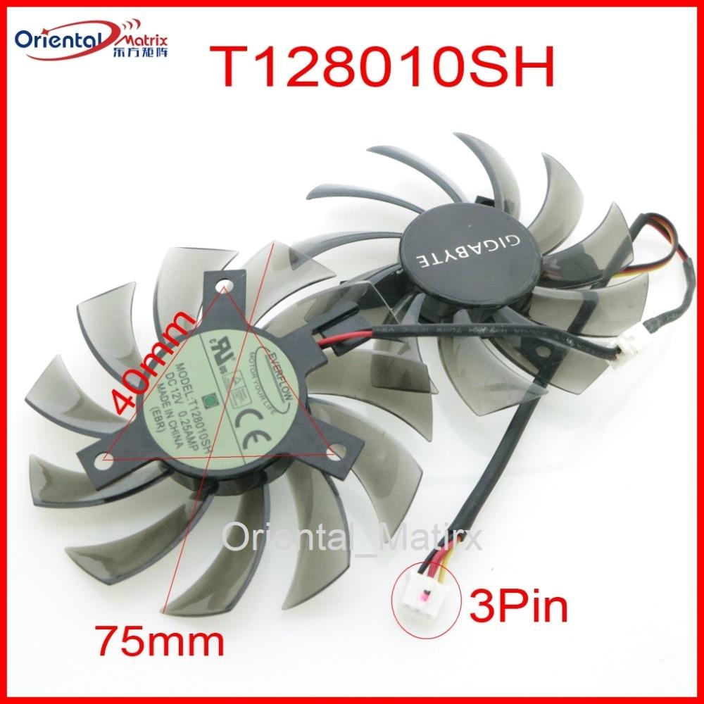 Free Shipping T128010SH 75mm DC12V 0.25A For Gigabyte GV-R585OC-1GD GV-N460OC-1GI Graphics Card Cooling Fan