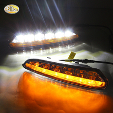 SNCN LED Daytime Running Lights for Opel Mokka 2012 2013 2014 2015 Eyelids Lights fog lamp lights 12V ABS DRL Turn Signal lights