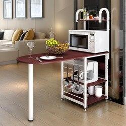LK636 креативная полка для микроволновой печи многофункциональная полка для хранения деревянный обеденный стол органайзер для посуды кухонн...