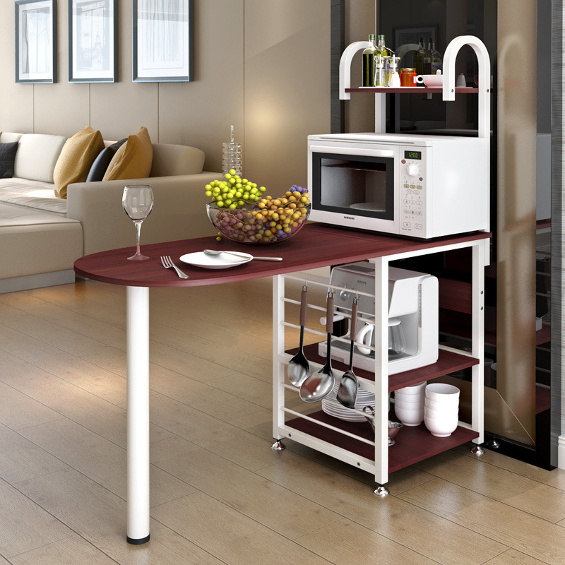 lk636 creative microwave oven rack multifunctional storage shelf wood dining table dinnerware organizer kitchen furniture